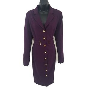 Calvin Klein Size Purple Gold Button Dress Coat